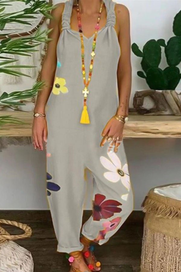 Floral Print Paneled Sling Holiday Sleeveless Jumpsuit