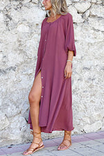 Simple Style Solid Buttons Down Pleated Slit Maxi Dress