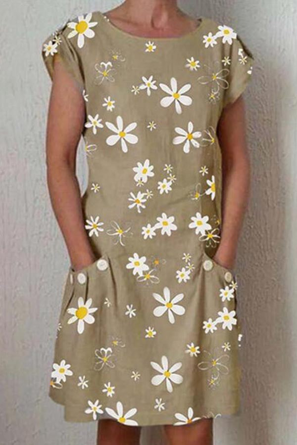 Holiday Daisy Print Paneled Side Pockets Midi Dress