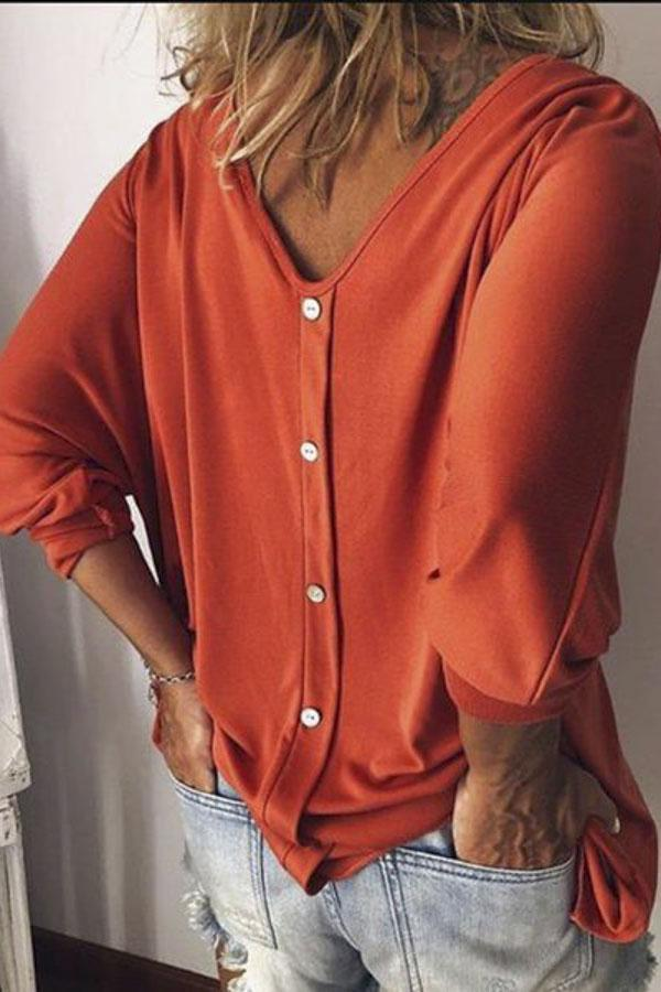 V Neck Solid Long Sleeves Casual Blouses