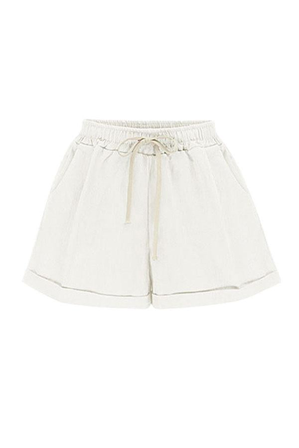 Paneled Solid Side Pockets Self-tie Short Pants