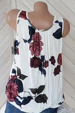 Sleeveless Paneled Pleated Floral Print Casual Tank Top