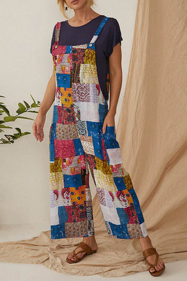 Bohemian Geometric Print Buttoned Sleeveless Wide Leg Jumpsuit