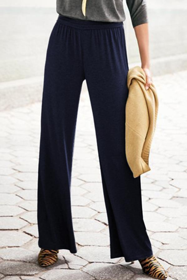 Casual Solid High Waist Wide Leg Pants
