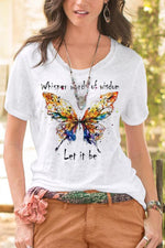 Butterfly Print Casual Crew Neck Short Sleeves T-shirt
