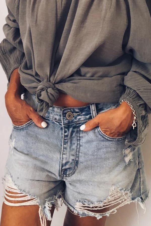 Solid Folds Cutout Edging Pockets Short Jeans