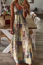 Spaghetti Bohemian Floral Print Holiday Maxi Dress