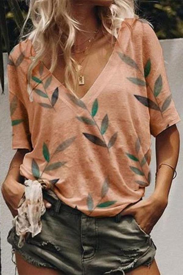 Leaf Print V-neck Casual T-shirts