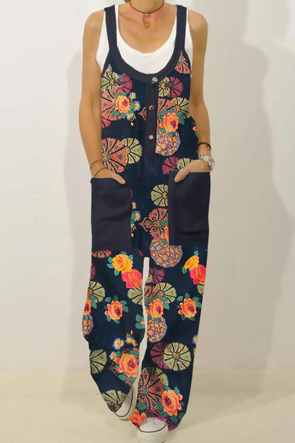 Holiday Floral Print Paneled Pockets Buttoned Jumpsuit
