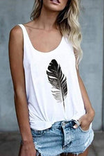 Casual Feather Print Sleeveless Tank Top