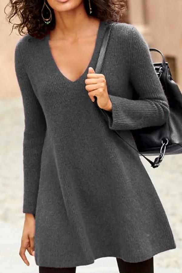 Elegant Solid V-neck Long Sleeves A-line Knitted Sweater Dress