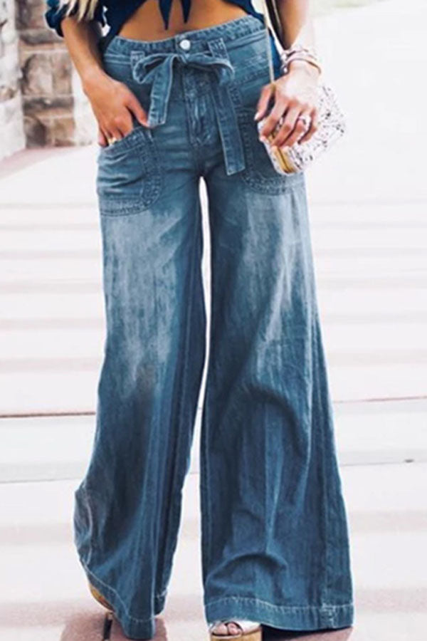 Solid Casual Side Pockets Wide Leg Jeans