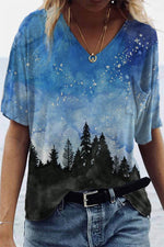 Gradient Starry Sky Forest Landscape Print V-neck T-shirt