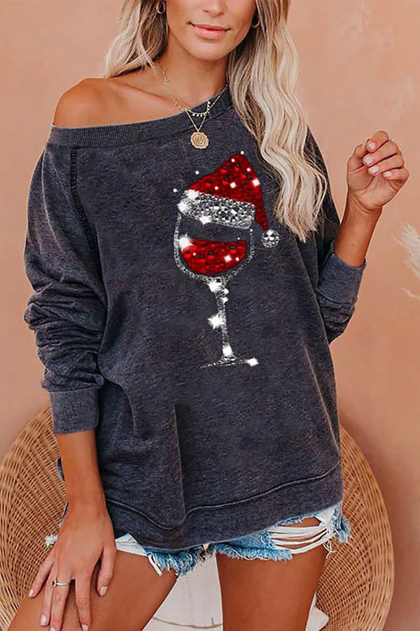 Red Wine Glass With Christmas Hat Print Paneled Casual Sweatshirt