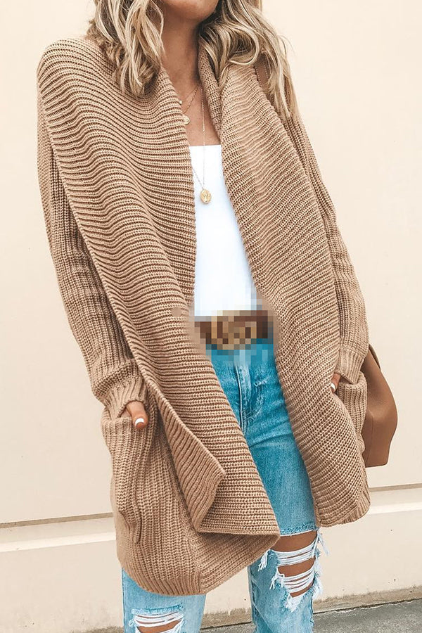 Knitted Ribbed Open Front Paneled Pockets Long Basic Cardigan