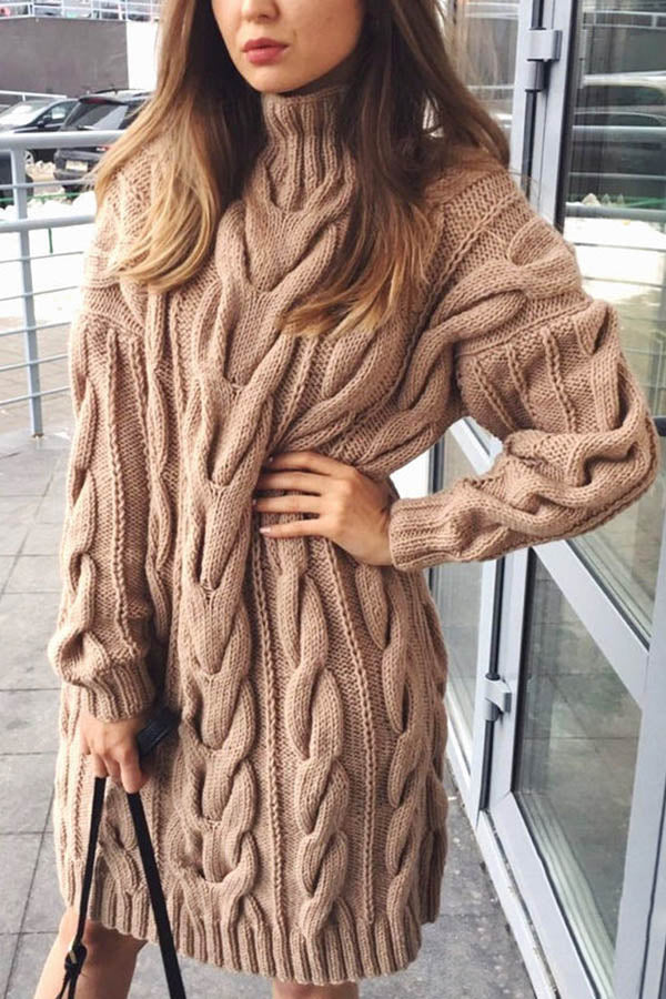 Tweed Knitted Turtleneck Solid Ribbed Holiday Sweater Dress