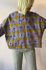 Vintage Geometric Print Paneled 3/4 Sleeves Cropped Blouse