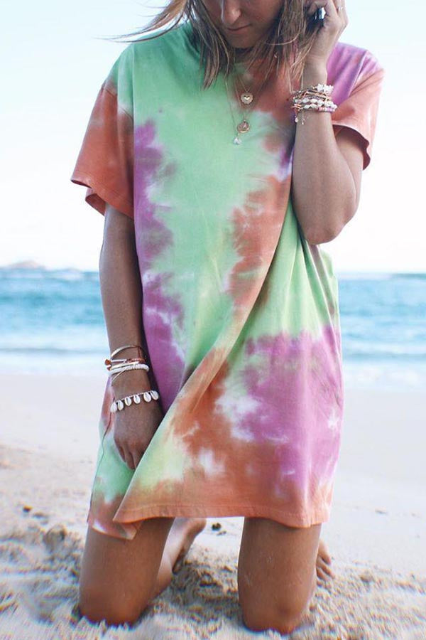 Gradient Print Holiday Short Sleeves Mini Dress