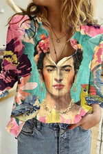 Abstract Color Painting Frida Kahlo Women Floral Headwear Print Gradient Holiday Blouse