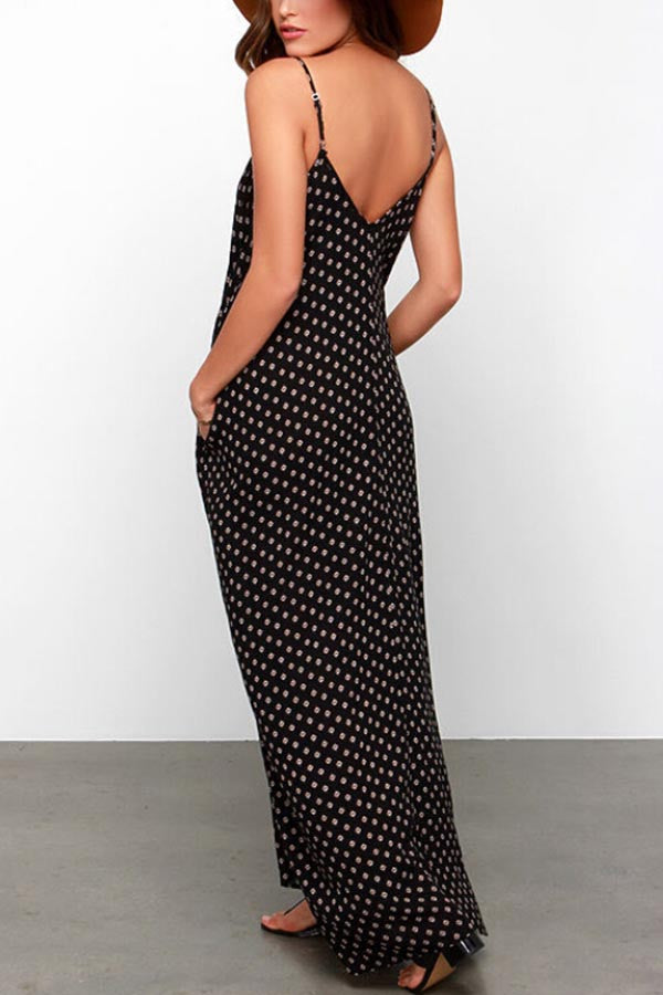 Pockets Polka Dots Spaghetti Backless Maxi Dress