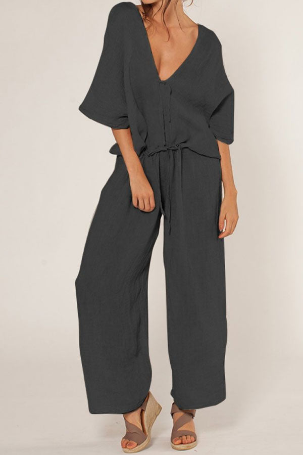 Plunging Neck Solid Self-tie Half Sleeves Casual Wide Leg Jumpsuit