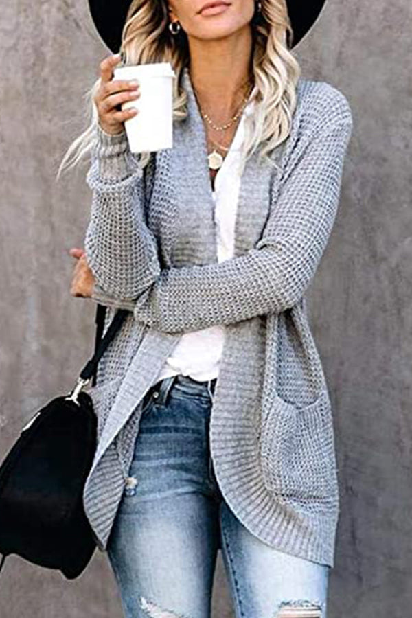 Knitted Solid Paneled Ribbed Plaid Embossed Open Front Daily Cardigan