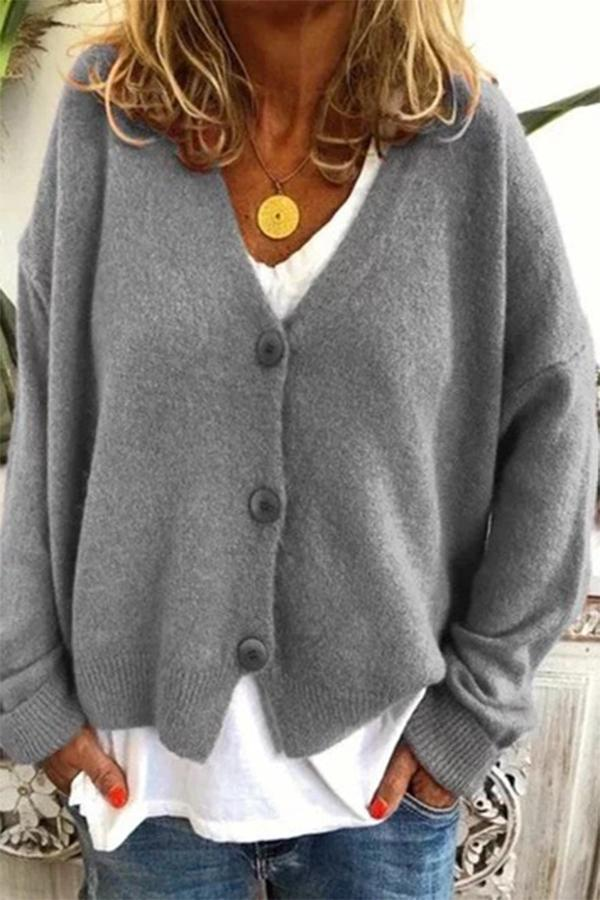 Casual Solid Long Sleeves Buttons Down Knitted Cardigan