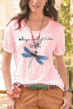 Dragonfly Print Casual Short Sleeves Crew Neck T-shirt