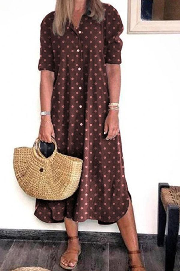 Polka Dots Print Buttoned Casual Slit Midi Dress