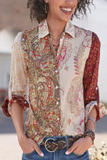 Vintage Buttoned Shift Long Sleeves Print Blouses