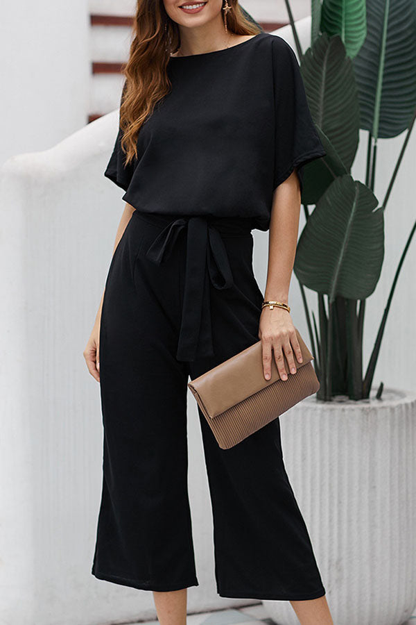 Backless Half Sleeves Shift Self-tie Jumpsuits