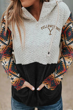 Yellowstone Dutton Ranch AZTEC Jacquard Diamond Embossed Zipper Front Hoodie
