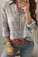 Plaid Print Lace Up Shirt Collar Casual High Low Blouse