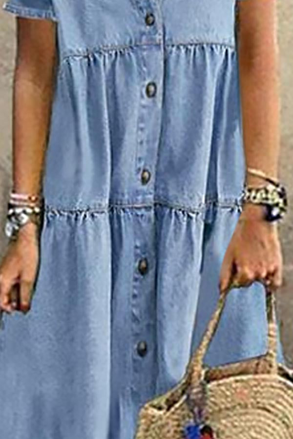 Casual Solid Buttons Down Paneled Pockets Denim Maxi Dress