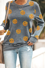 Cartoon Halloween Pumpkin Floral Smile Face Print T-shirt