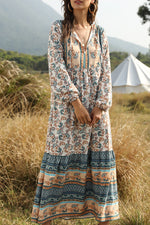 Bohemian Floral Print V-neck Balloon Sleeves Holiday Maxi Dress