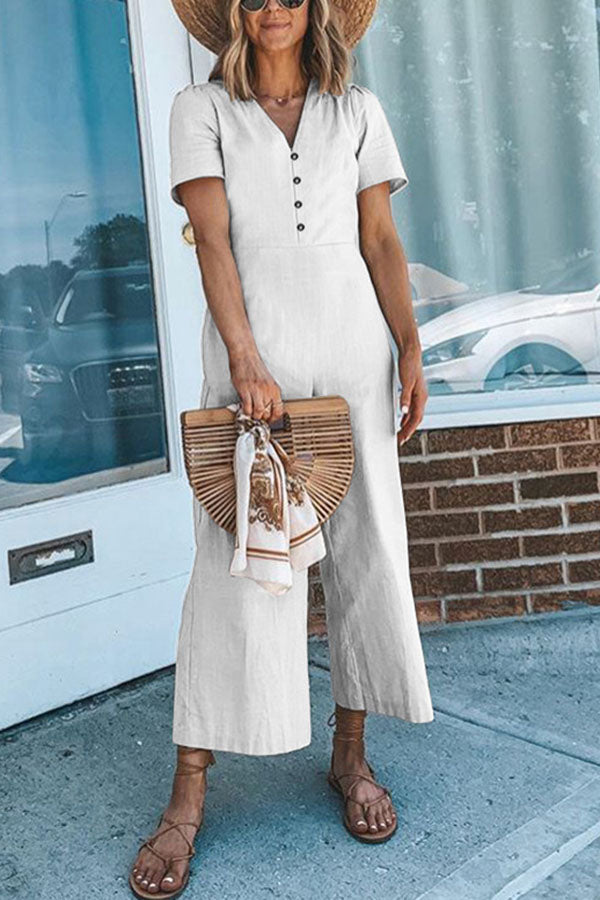 Casual Solid Paneled Buttoned V-neck Wide Leg Jumpsuit