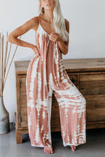Loose Print Spaghetti Shift Backless Jumpsuit
