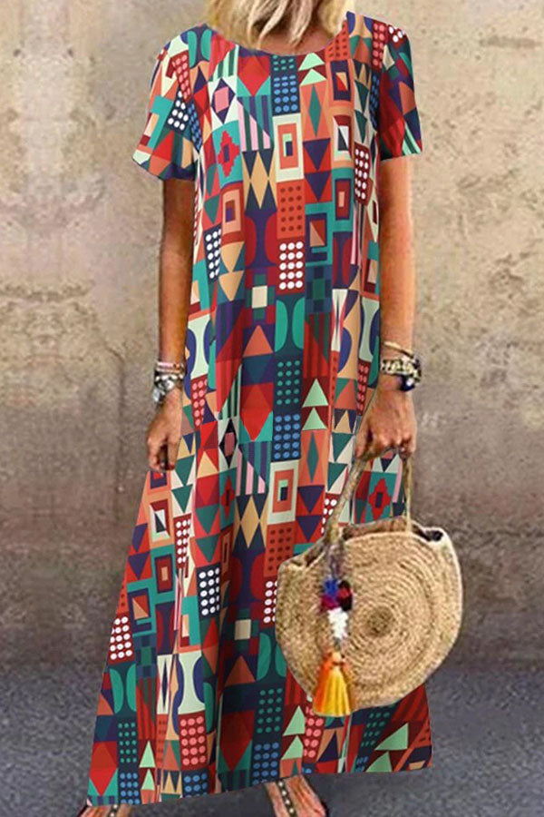 Bohemian Geometric Print Short Sleeves Holiday Maxi Dress