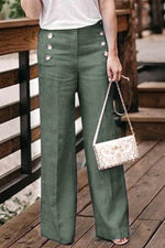 High Waist Button Design Pants