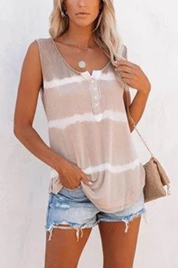 Buttoned Sleeveless Gradient Print Casual Tank Top