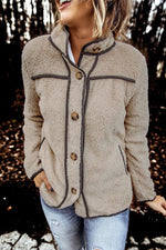 Fashion Solid Fuzzy Buttons Down Stand Collar Pockets Coat Outerwear