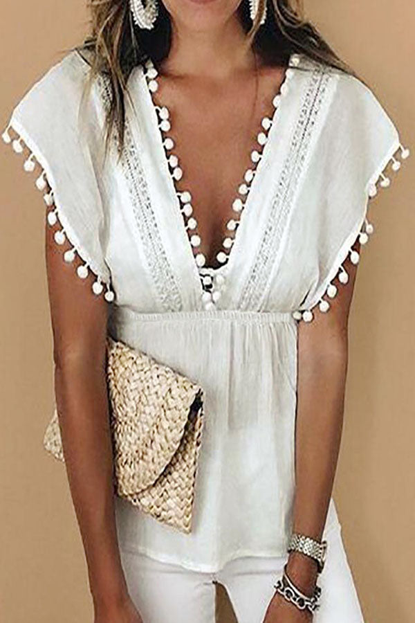 Solid Lace Tassel Hollow Out Plunging Neck Sleeveless Blouse