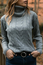 Sheath Solid Turtleneck Knitted Ribbed Tweed Holiday Sweater