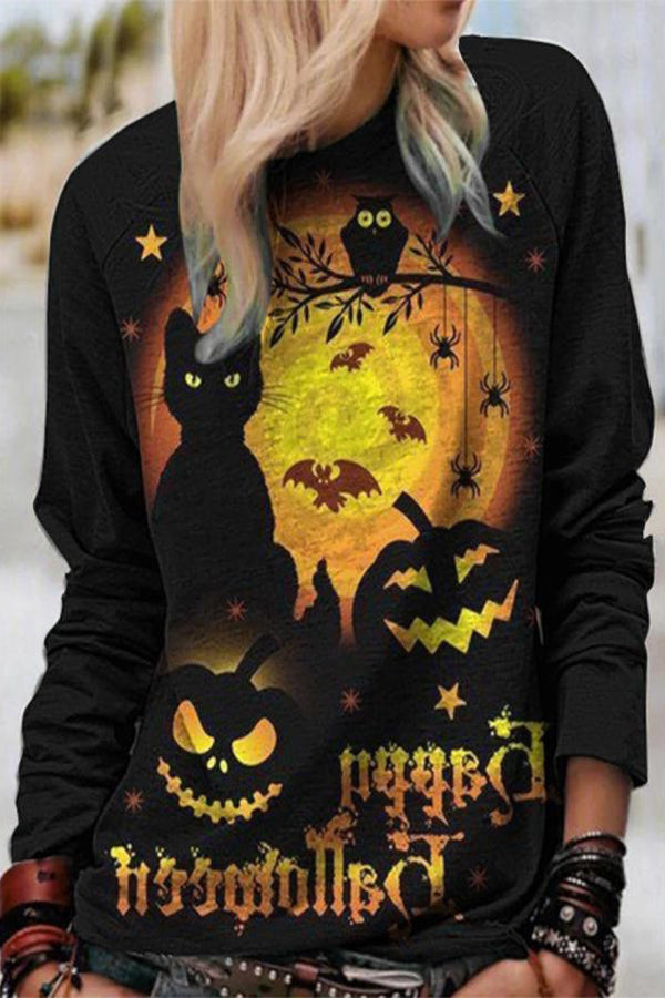 Happy Halloween Pumpkin Cat Bat Owl Star Print Sweatshirt
