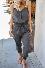 Spaghetti Solid Self-tie Elastic Foot-binding Casual Jumpsuit