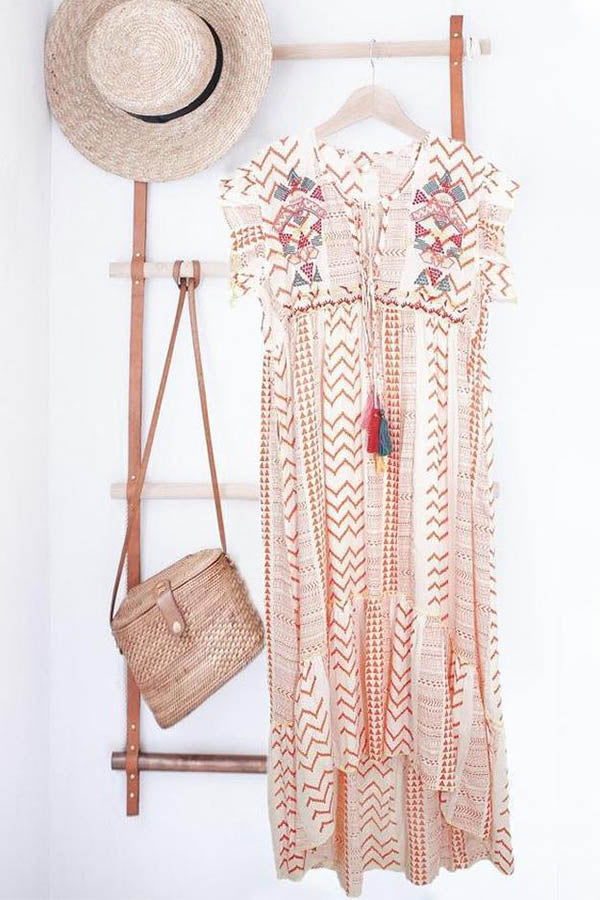 Bohemian Geometric Print V-neck Bell Sleeves High Low Maxi Dress