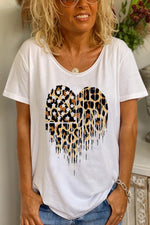 Leopard Heart Print Paneled Short Sleeves Casual T-shirt