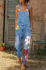 Floral Print Buttoned Pockets Casual Jumpsuits