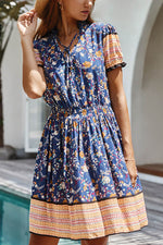 Bohemian Floral Print Paneled Elastic V-neck Holiday Mini Dress